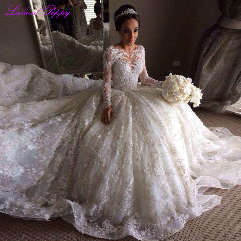 Cathedral Length Train Wedding Gowns: Luxury Women's A Line Embroidery Lace Appliques Long