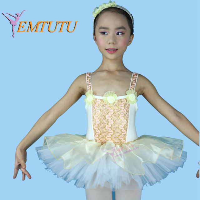 51f489f7a Flowers Decor Cream Color Child Dance Tutu With Leotard Girls Child ...