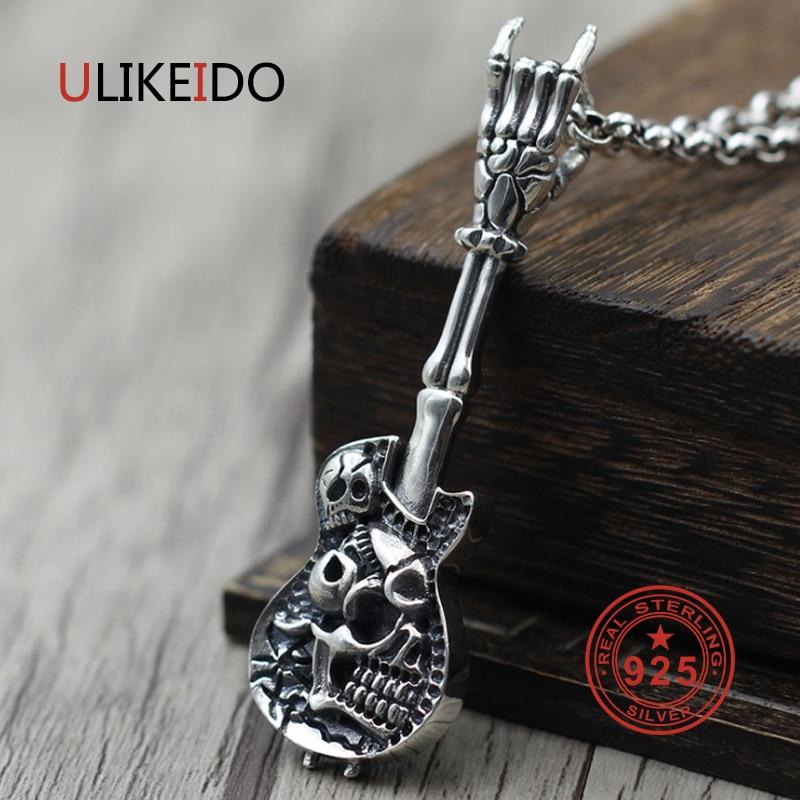 Pur 925 bijoux en argent Sterling guitare charmes Punk pendentifs pour hommes et femmes Thai argent collier chaîne Fine cadeau 1552
