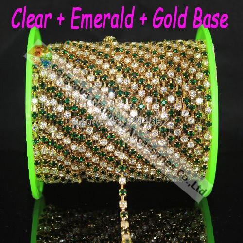 2 ярдов металла кристалл окантовкой SS16 4 мм изумруд чередовались цвета: золотистый, серебристый DIY browband платье аксессуар кристалл горного хрусталя Кубок цепи