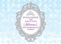 custom frozen Princess Crown Baby Shower 1st Birthday snowflake backdrop High quality Computer print party background