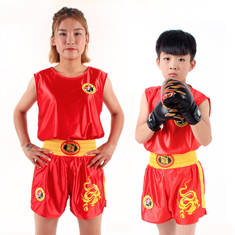 Crianças/adultos boxe esporte jérsei mma muay thai shorts camisa conjunto kickboxing artes marciais kung fu uniforme luta wushu roupas