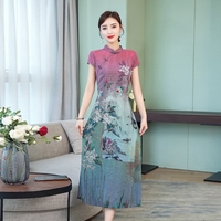 2019 chinese dress qipao cheongsam women vintage floral print button cheongsam evening gowns chinese style mandarin collar dress