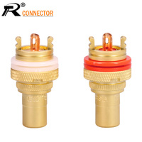 100PCS/50PAIRS Luxury Gold plated RCA Jack Connector Panel Mount Chassis Audio Socket Plug Bulkhead with NUT Solder CUP 3Colors