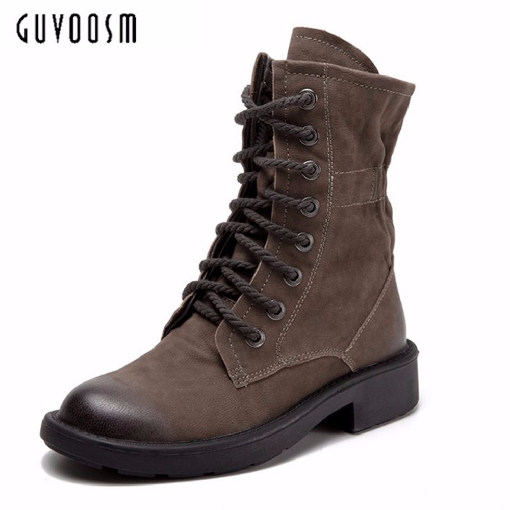 Guvsoom Female Cow Full Genuine Leather Mid- Bota Feminina Woman Khaki RubberMed Heels Height Square Riding Normal Size палатка normal ладога 4 khaki
