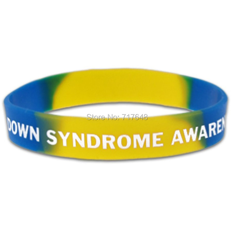 200pcs Down Syndrome Awareness wristband silicone bracelets free shipping by FEDEX