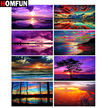 HOMFUN Full Square/Round Drill 5D DIY Diamond Painting Sunset scenery Embroidery Cross Stitch 5D Home Decor Gift homfun full square round drill 5d diy diamond painting moon scenery embroidery cross stitch 5d home decor gift