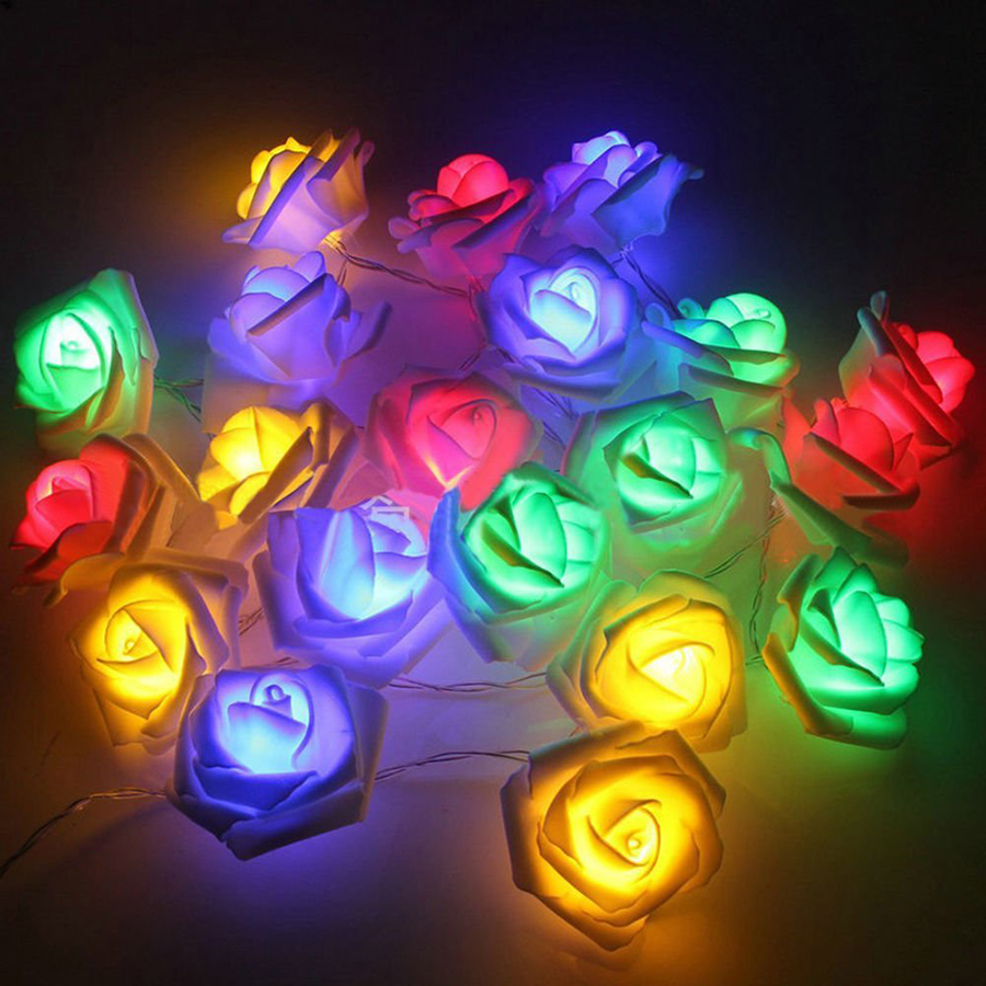 1M 2M Battery Operated Rose Flower LED String Lights Christmas Holiday Wedding Birthday Valentine's Day Party Decoration Lights