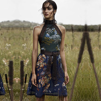 High Quality 2018 Summer Sleeveless Nail Bead Belt Embroidered Flowers Beach Holiday A line Dress