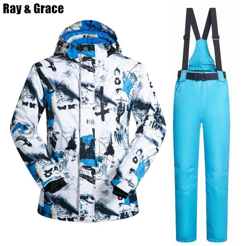 RAY GRACE veste de Ski hommes vêtements d'hiver homme veste de Snowboard pantalon costume imperméable thermique respirant professionnel neige ensemble - 2