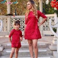 Платья для мамы и дочки мама и детская одежда для девочек свадебное платье одежда семейная одежда комплект красный Кружево оборками платье ...