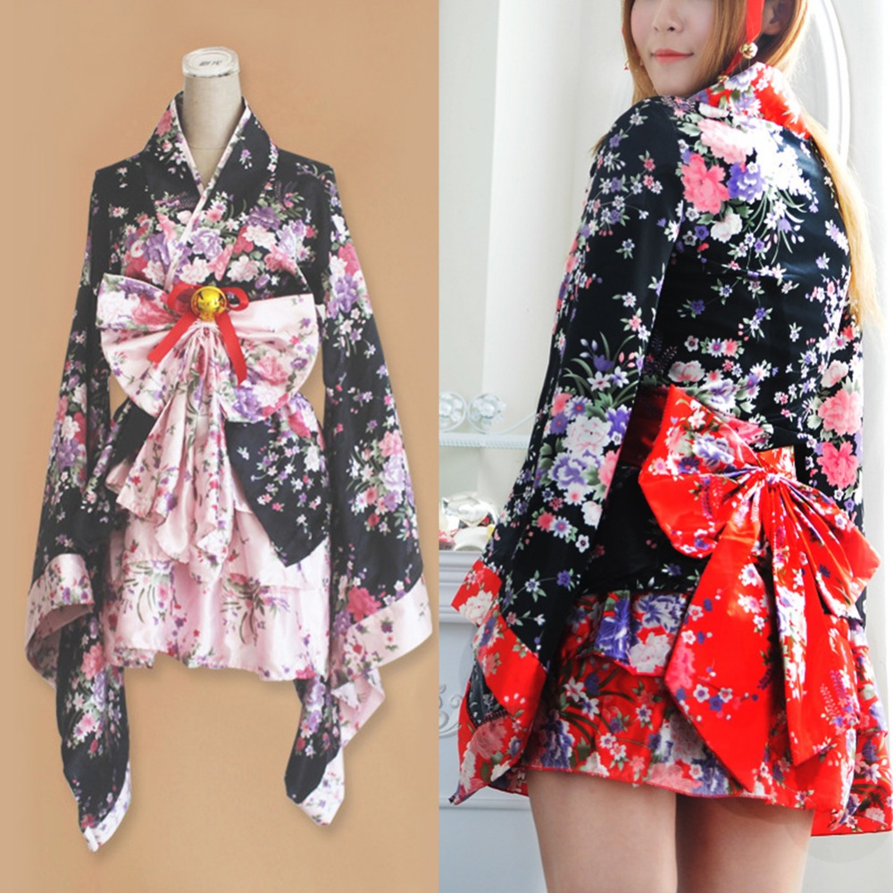 Cherry Blossoms Kimono Dresses Halloween Heavy Sakura Cosplay Anime Costume Traditional Japanese Kimono Lolita Maid Dress
