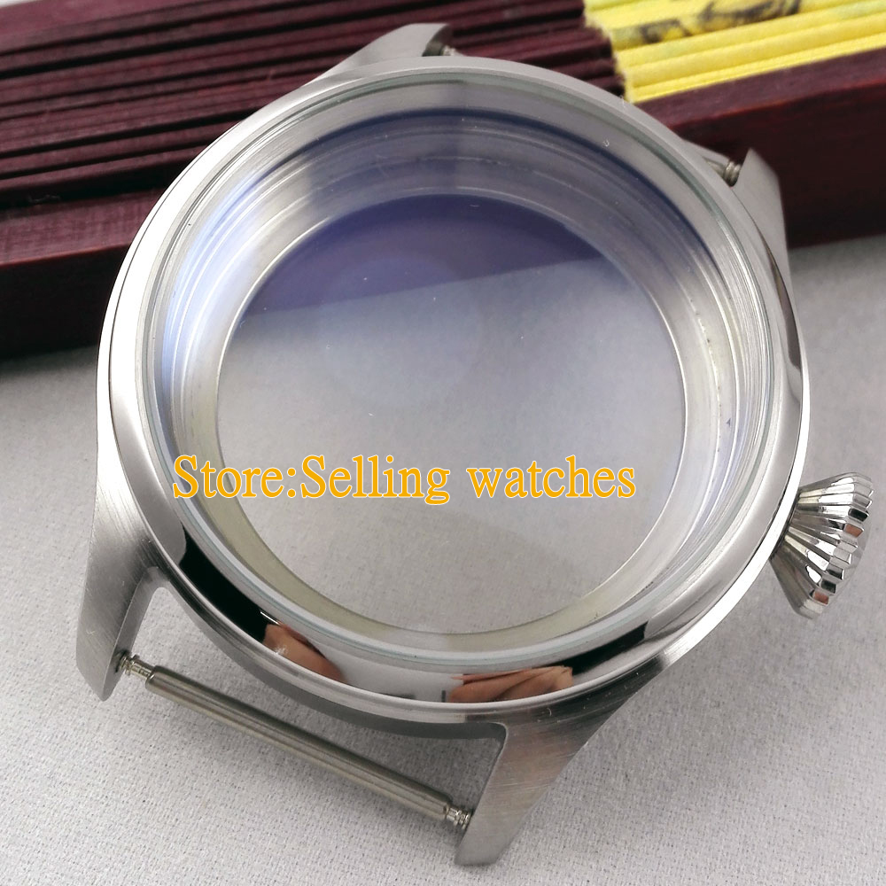 47mm stainless steel CASE steel fit 6497 6498 hand winding movement C019