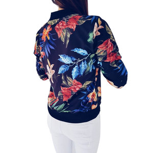 Image 4 - 2018 Women Coat Retro Floral Print Zipper Up Jacket Casual Coat Autumn Long Sleeve Outwear Women Basic Jacket Bomber Famale 5XL