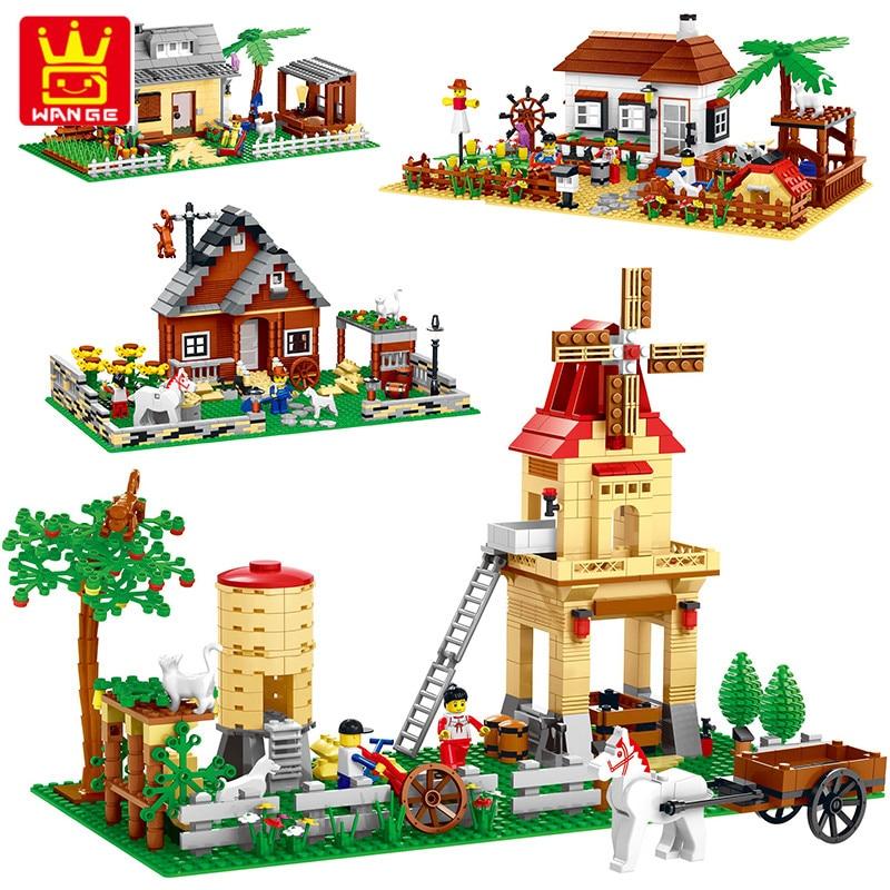 Wange Bricks 412 Pcs Building Block Happy Farm Bricks Toy For Kid Creative Enlighten Educational Toys for Children mtele brand 62 pcs pcs magnetic tiles designer construction kids educational toys creative bricks enlighten toy