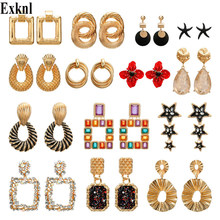 Exknl Bohemia Drop Earrings for Women Irregular Dangle Flower Long Statement Ethnic Earrings Fashion Jewelry Accessories 2019(China)