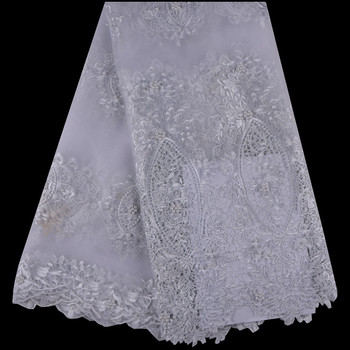 2018 High Quality White Beaded Guipure African Lace Fabric Embroidered Wedding Decoration French Nigerian Lace Fabrics 1010