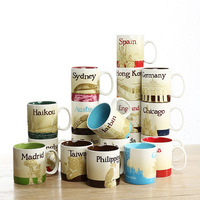 Creative Hot Sale City Mug Country Collection Commemorative Coffee Cup Lovely Ceramic Spain London France Macau