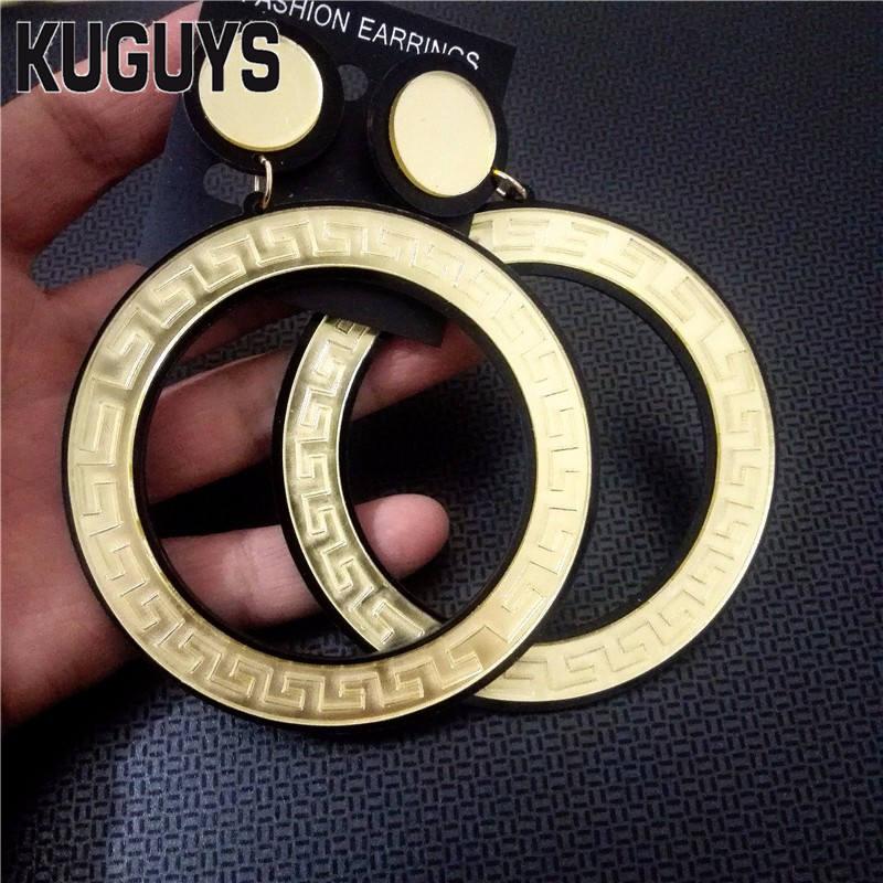 KUGUYS Acrylic Jewelry Custom Brinco Jewelry Round Large Earrings for Women Pendientes Gold Silver Hyperbole Earring Oorbellen