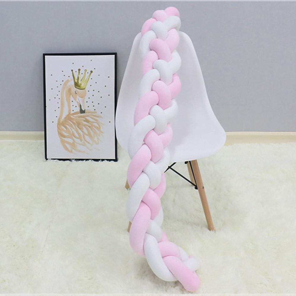 Длина 300 см, детская кроватка, бампер, завязанная узлом, заплетенная плюшевая детская колыбель, Декор, подарок для новорожденных, подушка, детская кровать, спальный бампер - Цвет: white pink 4 ropes