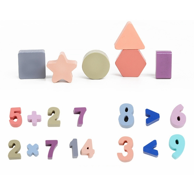 Wooden Numbers and Shapes Matching Toy Set for Preschoolers