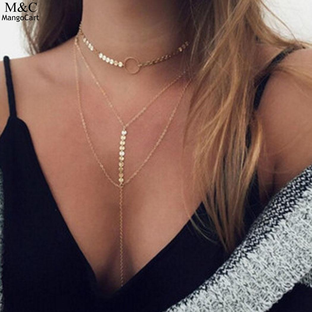 Clavicular Women Vintagr Style Sequins Multilayer New Sweater Chain Necklace