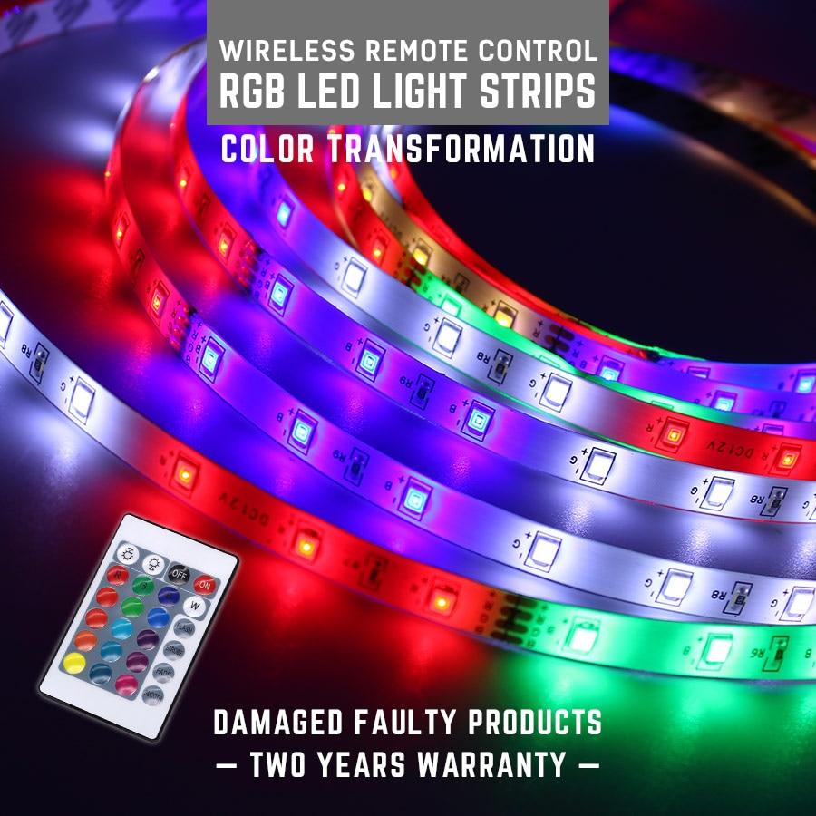 SMD2835 LED Strip Light DC12V 5M EU Plug RGB TV Back Light 16 Colors Remote Control LED Light Diode Ribbon Flexible Controller