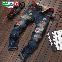 CARTELO MEN Tide section men's jeans men's foreign trade new paint holes men's trousers straight Slim retro pants wholesale