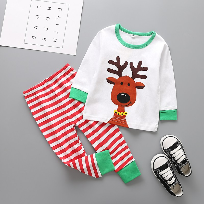 Newborns Baby Cute Clothes Set Cartoon Deer Printed T-shirt +Striped Outfits Baby Boys Girls Christmas Clothing