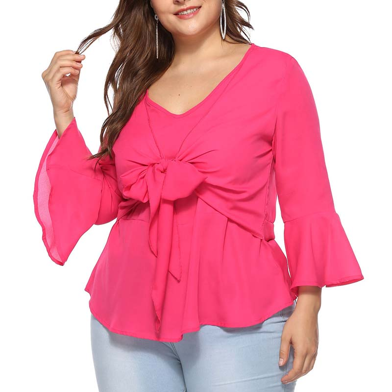 368911ed Women Plus Size Tops V neck Solid Shirt Flare Sleeve Self tie Bow Knot  Keyhole Back Big Size Elagant Autumn Casual Blouse-in Blouses & Shirts from  Women's ...
