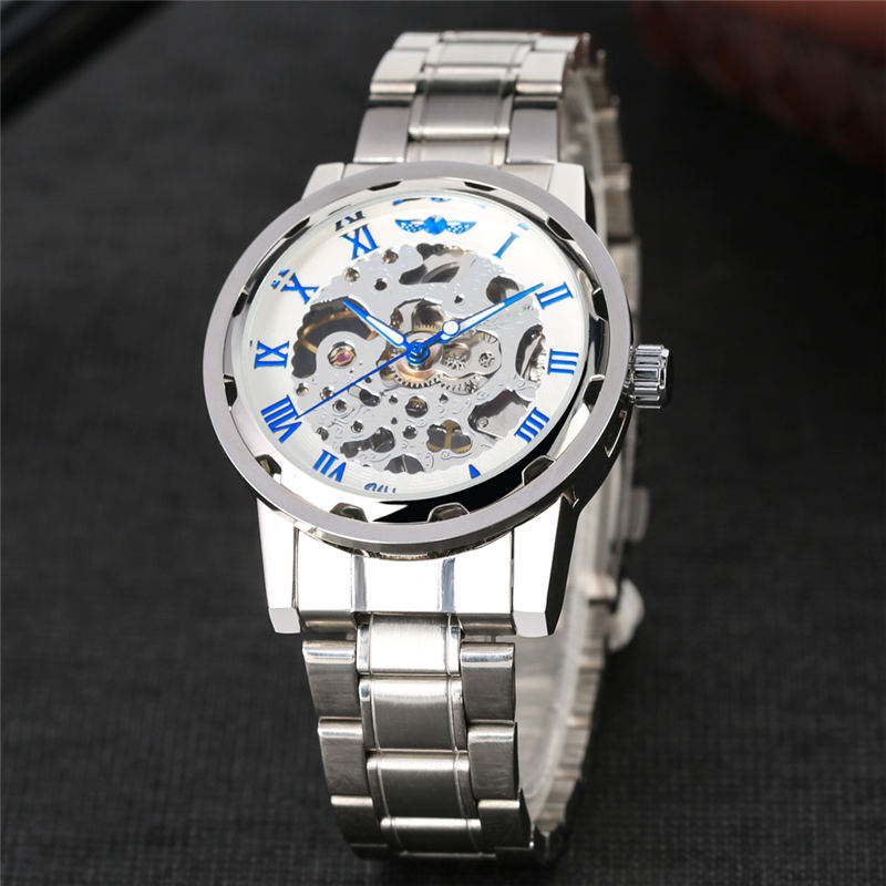 Mechanical Men Watch Stainless Steel Hand Wind Skeleton Watches Hollow out Design Luminous Hands Wristwatch reloj hombre in Mechanical Watches from Watches