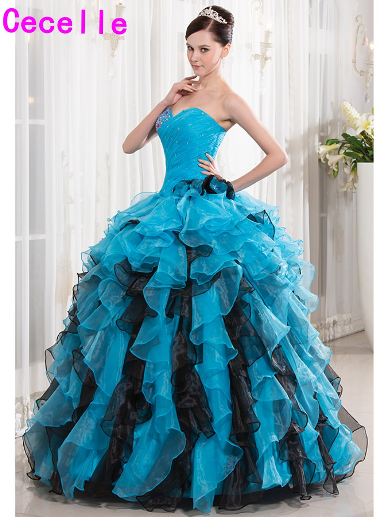 2017 Turquoise Black Ball Gown Quinceanera Dresse Long Ruffles Organza Corset Back Pleats Beaded Crystals Girls Birthday Dresses