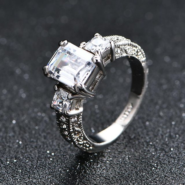 NEW 2017 AAA Square Zircon wedding Rings for women Silver color Austrian Crystals rings female anel  fashion Jewelry top quality