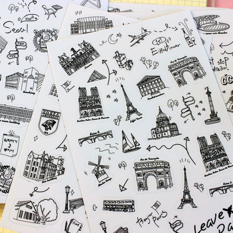 1-Pack World Famous Places And Buildings Sticker For Diary Scrapbooking