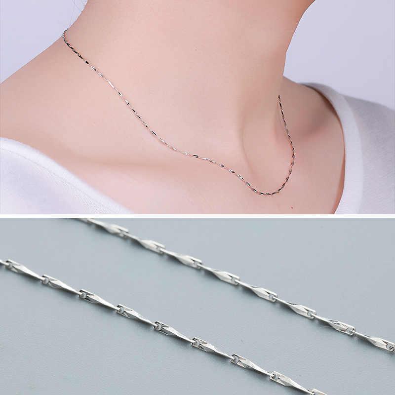 40 cm/45 cm colar corrente de longa duração 925 prata esterlina sólido 925 colar branco cor do ouro jóias femininas melhor presente