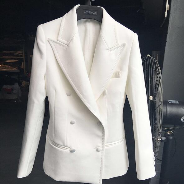 2017 Novas Mulheres Brancas Blazer Blaser Fino Dupla Breasted Projeto Blazer Feminino Terno Feminino Jaqueta T284