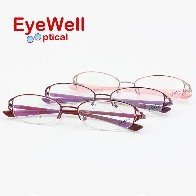 New arrival half rim metal optical frame flexible TR temple comfortable wearing beautiful flower eyewear for women free shipping
