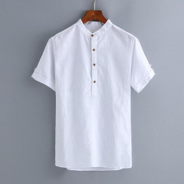 Stand col de chemise d été hommes à manches courtes en lin hommes chemises  grande 623e67d8456e