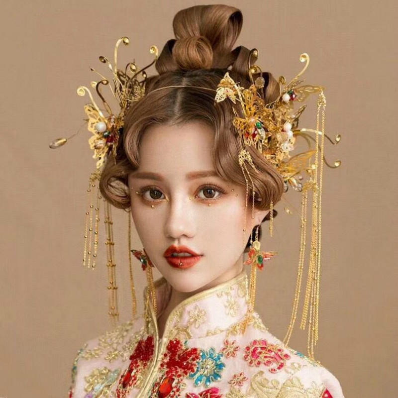 AINILIDAN Chinese Style Bridal Headwear Handmade Gold Alloy Butterfly Phoenix Coronet Marry Wedding Hair Accessories Bride Crown 03 red gold bride wedding hair tiaras ancient chinese empress hat bride hair piece