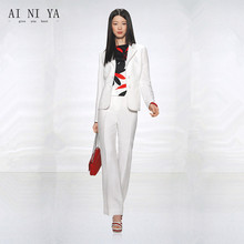 Winter White Women Business Suits With Pants Jacket Fashion Ladies Work Office Uniforms Formal 2 Piece