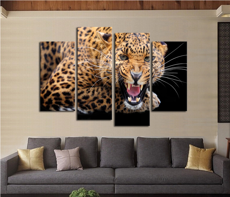 4 Panels Yellow Spots Leopard Print Modern Painting Canvas