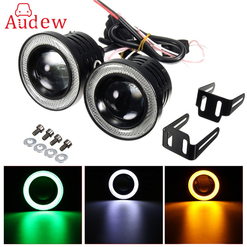 2x Universal 2.5 Inch Projector COB LED Car Fog Light Halo Angel Eyes Rings DRLWhite Green Amber 12V Road Fog Lampm guangzhou auto light car fog projector lens without bulb car lights 2 2 inch universal type
