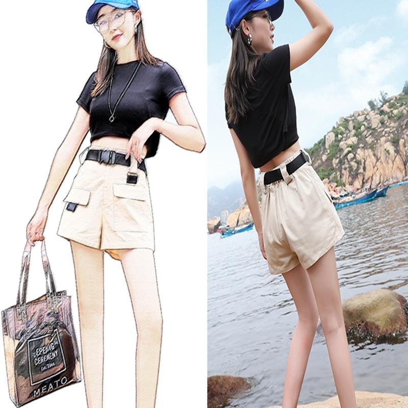 3XL Plus Size Women Summer Shorts With Belt 2019 Fashion Casual Streetwear Cargo Shorts Feminino BF Style Army Green Short Femme 6