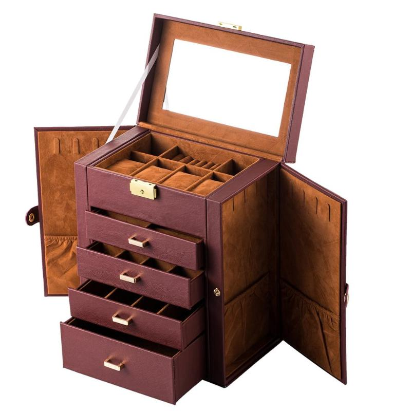 1PC Faux Leather Huge Jewelry Box Mirrored Watch Organizer Necklace Ring Earring Storage Lockable Gift Brown Makeup Tool Kits