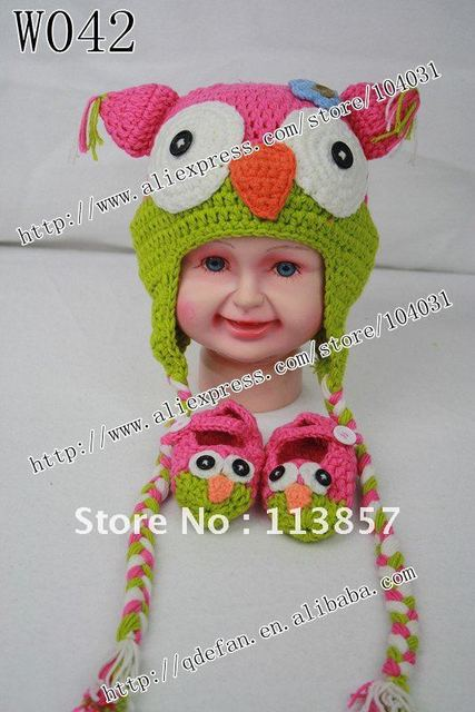 cef43284872 Free shipping (10 lot )100% cotton crochet Baby owl hat with  earflaps