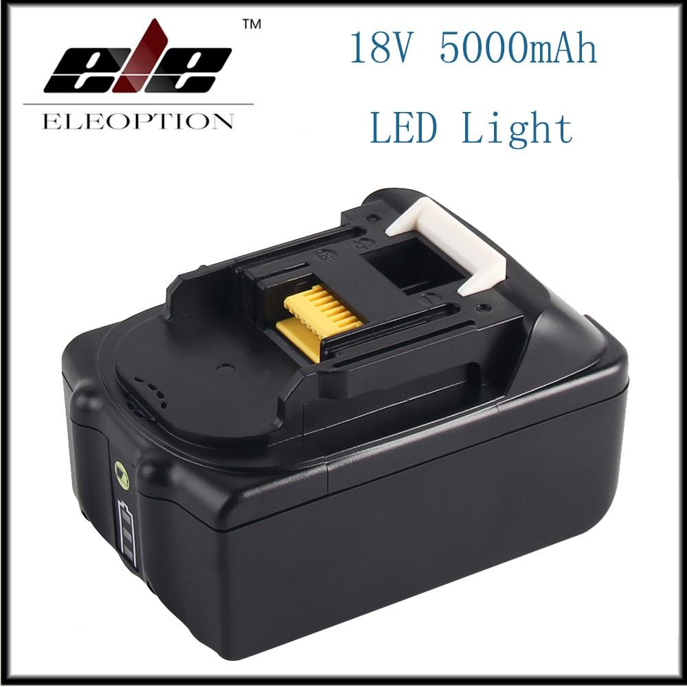 Nouveau 18 V 5000 mAh Li ion batterie de remplacement des outils électriques pour Makita BL1815 BL1850 BL1840 1830 batterie Rechargeable avec lumière LED