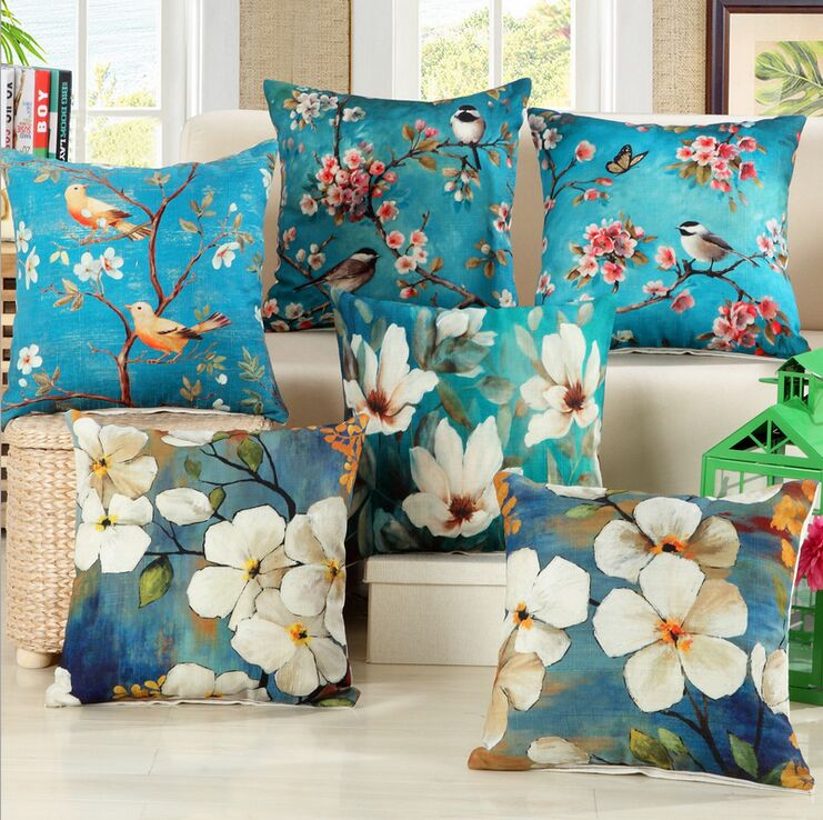 Bird Flower Cotton Linen Grace Bloom Sofa Cushion 45x45cm/17.7x17.7'' - Home Textile