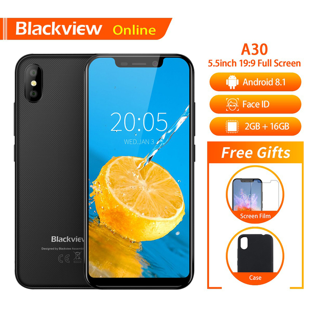 "Blackview Original A30 5.5"" Mobile Phone 19:9 Full HD Screen 2GB+16GB Quad-Core Android 8.1 Face ID Dual SIM Fashion Smartphone"