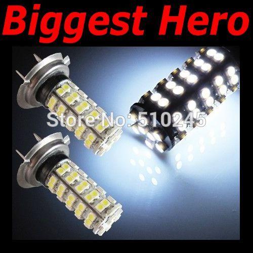 10x car led fog lamp H7 68 led smd 3528 68smd led light bulb lamp WHITE Free shipping