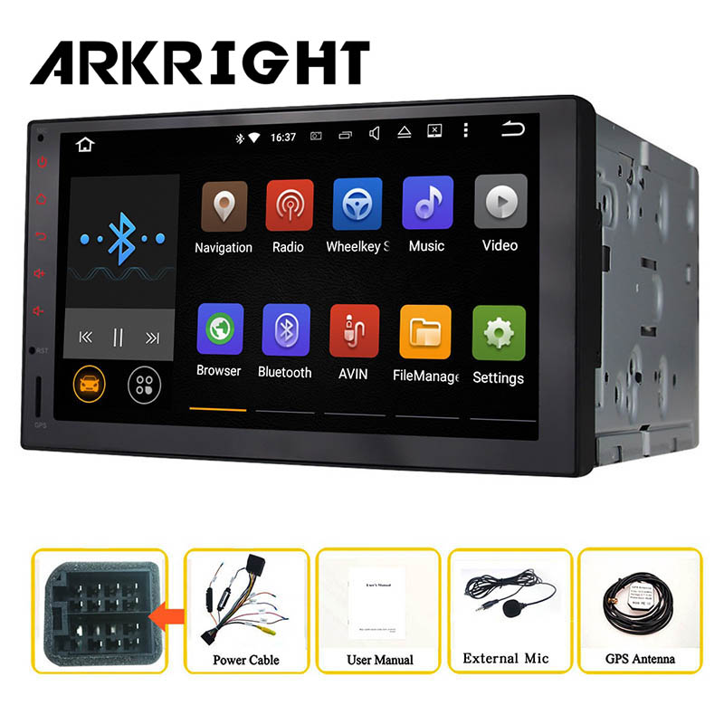 ARKRIGHT 7'' inch Quad Core 2 Din Android 6.0 Head unit Universal Car Radio Audio Stereo GPS Navigation HD Car Multimadia Player 10 inch 4 core 2 din universal android 7 1 1 car audio gps radio video player stereo auto bt rds head unit 2din with wifi usb sd page 3
